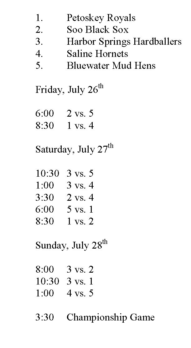 18U Sunset Showdown Schedule